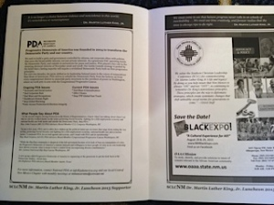 PDA sponsorship page in the program for the MLK event